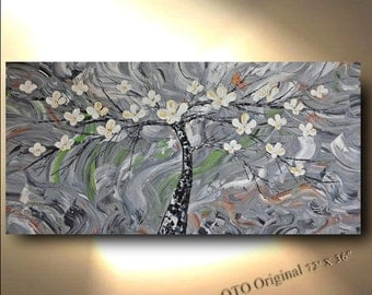 ORIGINAL Painting 72x36 Grey White metallic Gold Flower Tree Abstract Texture wall decor Artwork Fine art zen canvas by OTO