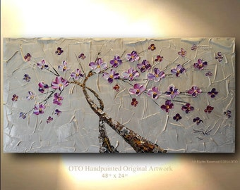 Extra Large Tree Painting Taupe White Flower Gold Tan Purple Abstract Art Canvas Tree oil Wall Decor Artwork Impasto Textured art by OTO