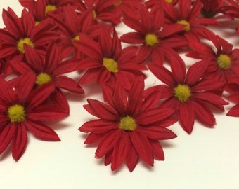 Artificial Flowers - 30 Artificial RED Daisies - Flower Crown, Hair Accessories