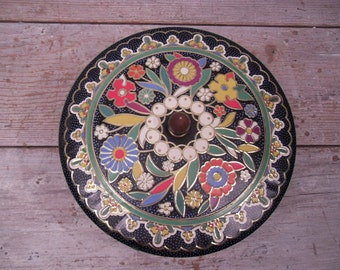 blue floral round tin box / england tin