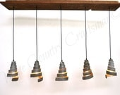 "RUSTIC - ""Vachellia"" - Reclaimed Barn Wood and Wine Barrel Ring Adjustable Chandelier - 100% RECYCLED"