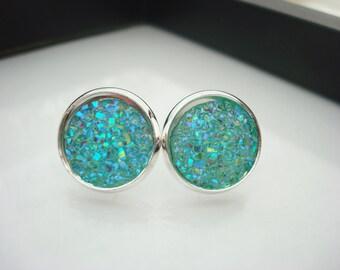 Mint Green Earrings, Mint Druzy Studs, Mint Earrings, Silver Studs, Green Druzy Earrings, Mint Studs, Faux Druzy Studs, Faux Drusy Studs
