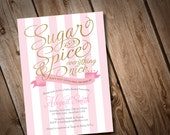 Sugar and Spice Baby Shower Invitation, Pink Stripes Invitation, Baby Girl Invitation, Gold and Pink Invitation, It's a Girl Invitation