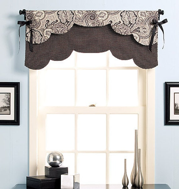 Sewing Kitchen Curtains: Custom Scalloped Edge Reversible Valance