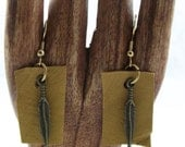 Leather Feather Dangle Earrings gold findings earring upcycled  eco friendly jewelry boho dangle earrings tribal recycled leather brown