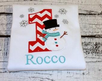 Snowman Birthday Shirt, Onederland Birthday, Snowflake Birthday, Winter Birthday, Snowman Party, Personalized Snowman Shirt