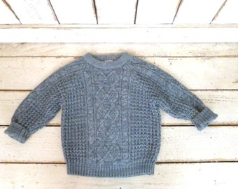 Vintage toddler/6x chunky grey woven knit pullover crew neck sweater/cableknit sweater
