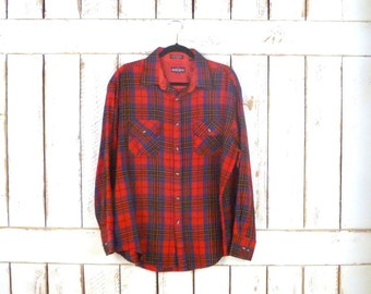 Mens red tartan plaid  button down flannel shirt/Christmas/holiday flannel/large/xlarge