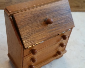 Vintage Wooden Doll House Secretary Writing Desk with Hinged Working Top and Working Drawers 1960s