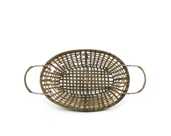 Woven wicker basket with wire metal frame - vintage storage solution, rustic farmhouse decor