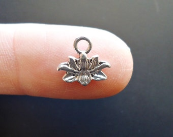Tiny Lotus Flower Charms - Antique Silver - 11mm Wide - BULK Sets of 50 or 100