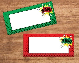 Instant Download Comic Book Super Hero Party Tent Cards Seating Cards