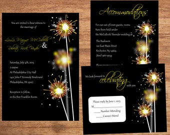 Sparkler Wedding Invitation Set Digital Files