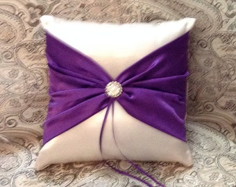 ring bearer pillow ivory or white with purple satin