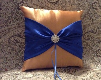 Champaign and blue wedding ring bearer pillow