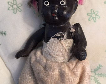 Adorable 1940s Black Bisque Baby Doll Made in Japan Vintage