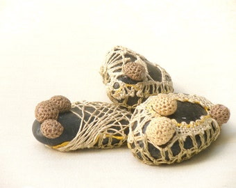 Eco Friendly Home Decor, Cottage Garden Decor, Upcycled Stone, Paperweight, Door Stop, Bowl Fillers,  Crochet Lace Pebbles