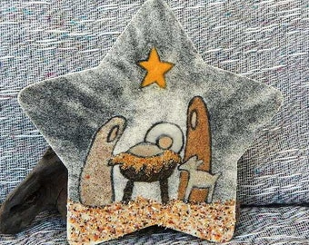 Nativity star original sand painting art work creche jesus mary joseph nativity packaged in a colorful gift bag rustic primitive 14Q1