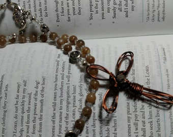 R009 Brown Glass Traditional Rosary