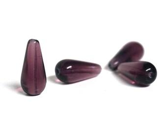 Glass Teardrop Beads, purple amethyst, 20mm x 10mm, set of 4 (1040G)