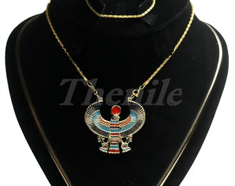 Egyptian Horus As Falcon With Life key Colored Brass Necklace halloween
