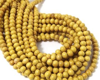 Nangka, 6mm, Light, Bright Yellow, Rare Color, High Quality, Natural Wood Bead, Round, Smooth, Small, Full 16 Inch Strand - ID 1410-LT