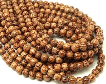 Palmwood, Natural Wood Beads, Round, Smooth, 6-7mm, Small, Full Strand, 62pcs - ID 1415