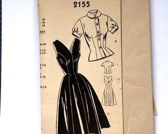 50s Country Gentleman 2155 Jumper or Sundress with Puff Sleeve Blouse - Size 12 Bust 30