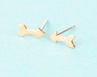 Gold Arrow Earrings - Stud Earrings - Arrow Jewelry