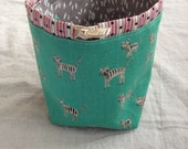 small knitting project bag sock sack (socksack) - tiger leaves
