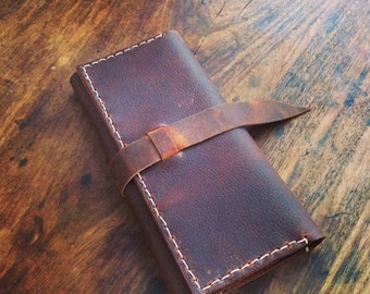 Trifold wallet, Full grain leather wallet, Leather checkbook cover, Zipper pouch, Leather wallet with coin pocket, Customized gifts for her