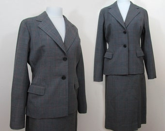 Meyers Womans Suit - Vintage 50s Gray wool blend fitted suit - Sm-Med