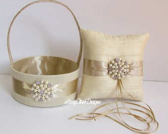 Wedding Ring Bearer Pillow Ring Pillow and Flower Girl Basket - custom made
