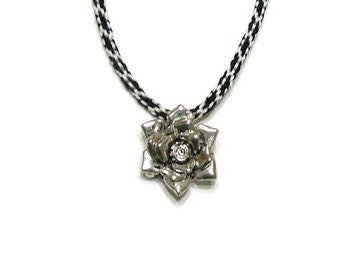 Black and White Kumihimo Necklace with Rose Pendant