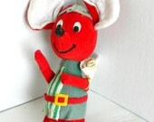 Dream Pets Red Christmas Mouse with green stripe outfit and santa sack 1960s
