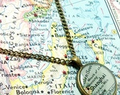 Shanghai, China 1942 Map Necklace. Map Pendant. Map Jewelry.
