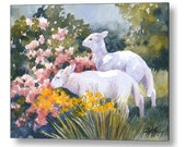 Lamb Print on Wood Watercolor Sheep Baby Animal Nursery Wall Art by Janet Zeh