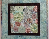 Small Quilted Wall Art Aboriginal Design Fabric Blue Brown