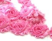 Bubble Gum Pink Shabby Rose Trim - Shabby Flower Rose Trim…Chiffon Flower..Rose Trim