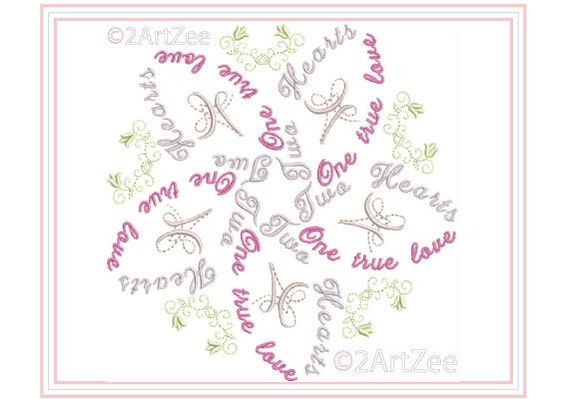 Two Hearts One True Love Word Flower Machine Embroidery Design