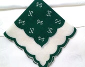 Vintage hanky, ladies, handkerchief, green, bows, St Patricks Day, March, cotton, scalloped edge, MidCentury