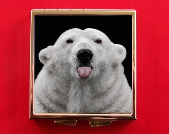 Pill Box Adorable Polar Bear Sticking Out His Tongue North Pole Snowflakes Unique Snow Humorous Kitsch