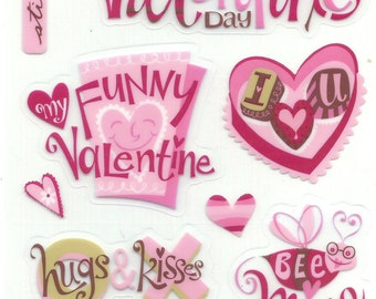 EK Success  -- Funny Valentine   --  15 pieces -- self adhesive Valentine stickers -- NEW  --  (#1027)