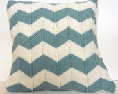 Teal Chevron Pillow Cover