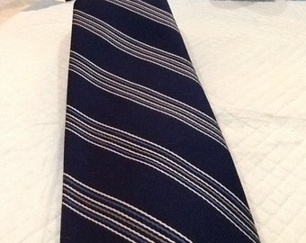 Vintage DIOR Tie Diagonal Striped Tie Shades of Blue White