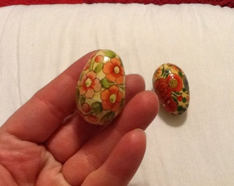 Vintage Decoupage Eggs Set of Three Flower Designs