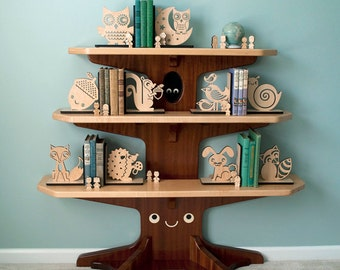 Kids Wood Bookends: Fox Bunny Squirrel Acorn Owl Bird Hedgehog Raccoon Snail, Mix / Match (2)