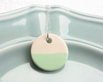 Mint & Creme Ceramic Charm Necklace, Handmade Ceramic, Sterling Silver, Summer Jewelry, Beach Jewelry,