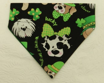 I'm an Irish Pooch! Green St Patricks Patty's AKC Breeds & Mutt Design Bandana! Dog Cat Ferret Reversible 2 in 1 Over the Collar Bandana.