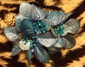 Small Blue Holiday Hair Flower